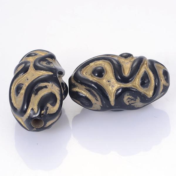 Nouvelle arrivée en gros cannelure ondulée placage acrylique en plastique perles design antique perles ovales bricolage fabrication de bijoux