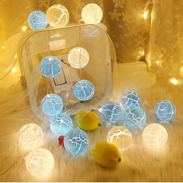 Plastic Crack Balls Shape LED String Lights Battery Operated Waterproof Fairy Outdoor Decoration Holiday Garland Christmas Globe Lights