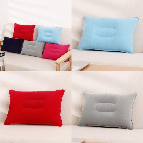 new solid color soft Outdoor Travel Air cushion Beach Inflatable Cushion Camping Car Head Rest Hiking