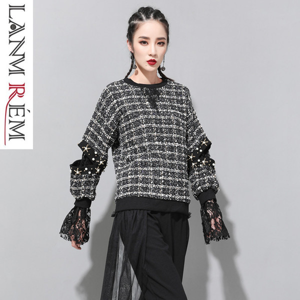LANMREM 2019 New Spring Patchwork Lace Plaid Fake Two Pieces Sweatshirt For Women Fashion Women Cloth Casual Loose Vestido ZA465