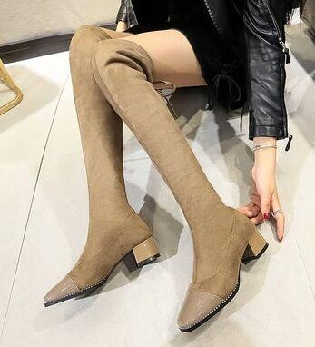 New Arrival Hot Sale Specials Super Fashion Sexy Plus Velvet Trend Package Box Elastic Warm Slim Stretch Knight Overknee Heels Boots EU35-40