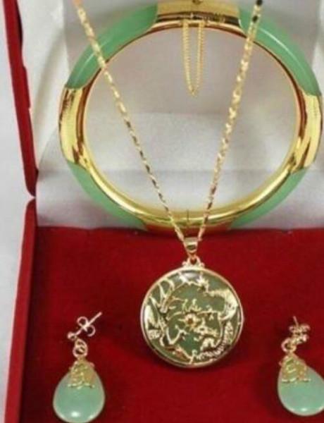 jewelry Charming green jade Dragon Phoenix pendants necklace earring bracelet set