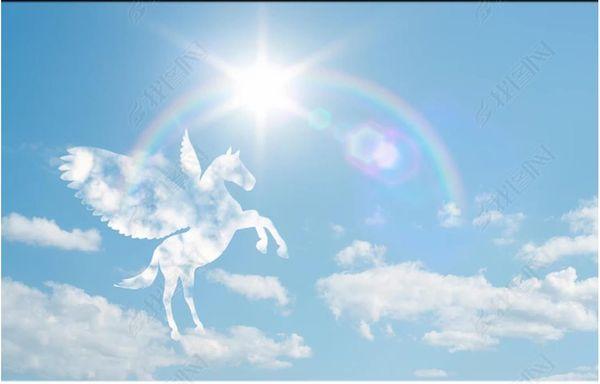 Custom Large Ceiling Zenith Mural Wallpaper Romantic white horse prince rainbow sun blue sky Photo Mural Wallpapers de techo Papel de parpede