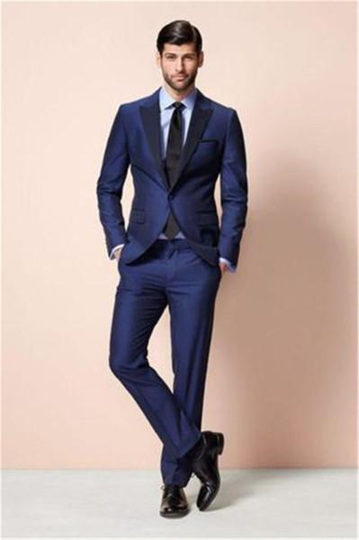 Trajes para hombre moda moderna para hombre trajes formales azules boda  prom groomsmen tuxedos mejores trajes 092e5b049d8
