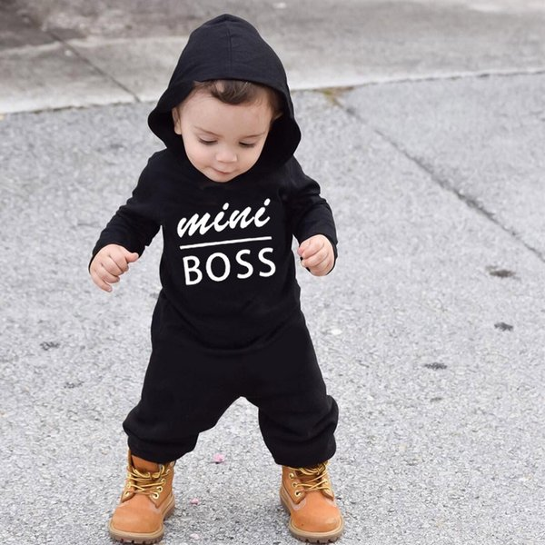Autumn&Winter Newborn baby clothes infant baby boy Rompers Cotton Long Sleeve mini boss Hooded kids Jumpsuits onesie