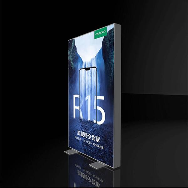 85x200 cm Kapalı Reklam Alüminyum Çerçevesiz Poster Gerginlik Kumaş LED Kenar Işıklı Işareti Işık Kutusu ile Çift Baskılı Grafik Düz Ambalaj