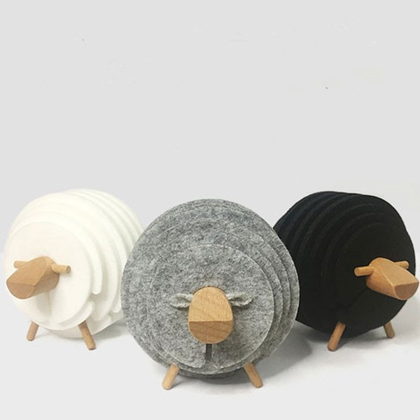 Sheep Shape Anti Slip Drink Coasters Insulated Round Cup Funny Felt Cups Mugs Mats Housewarming Gifts Set Of 14 Pcs Q190606
