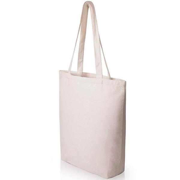 BEAU-Heavy Duty und Strong Large Natural Canvas Tragetaschen mit Unterteil für Handwerk, Shopping, Lebensmittel, Bücher, Welcome Bag, D