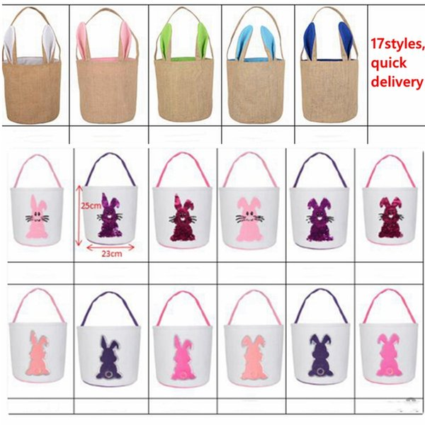 Easter bunny bucket Fashion Sequins Baskets 3D Rabbit Tail Printed Lucky Egg Basket Kids Candy Bags Toy Storage Bags Easter Gifts LXL1261