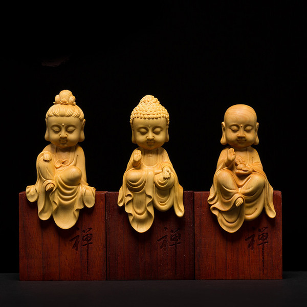 Wooden Buddha statues Three Western Gods Boxwood Wood buda statue carving Solid wood Sakyamuni for home decor