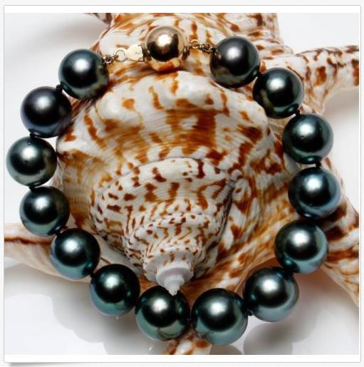splendido braccialetto di perle nere naturali tahitiano da 11-12 mm, 7,5-8 pollici