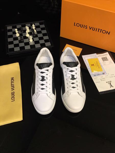 2019l en kaliteli lüks Tasarımcı rahat ayakkabılar Hakiki Deri Erkek Rahat Ayakkabılar kafes Baskılı Eğilim Erkek Rahat spor Ayakkabı boyutu 38-44