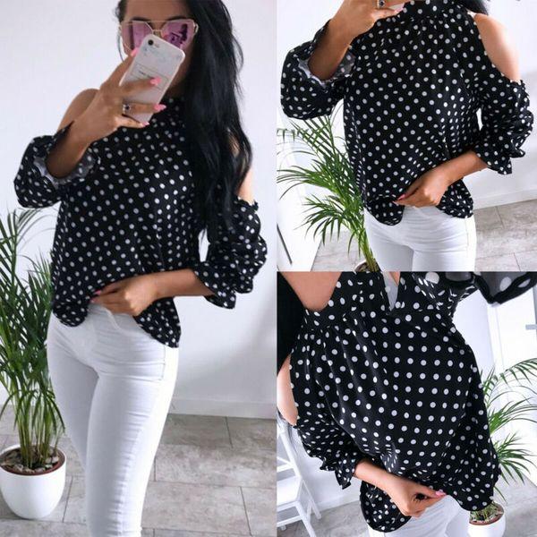 Mock Neck Cold Shoulder Keyhole Zurück Shirts Frauen Süße Vintage Polka Dots Print Top Jumper Lose Lange Puffärmel Bluse
