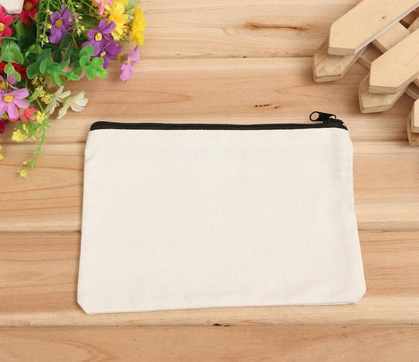 best selling 19cmx15cm Customized Logo Cosmetic Bag blank canvas zipper pouches cotton makeup bags Without Lining