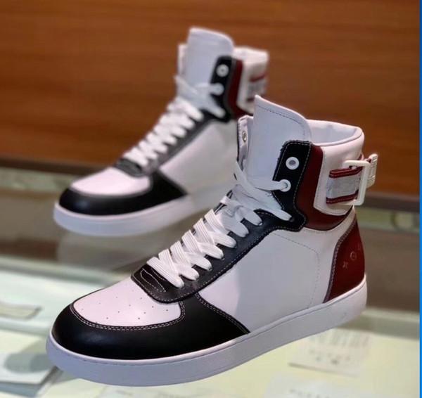 Classique RIVOLI SNEAKER Mens Designer Designer Chaussures High Top Casual Chaussures avec Impression En Cuir Crochet et Boucle À Lacets Chaussures Taille 38-45 LLL14