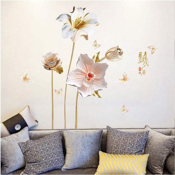 Kreative 3D Prägestil Orchideen Blumen Wandaufkleber für Wohnzimmer Dekoration Kunst Decals Schlafzimmer Mädchen Zimmer Aufkleber PVC