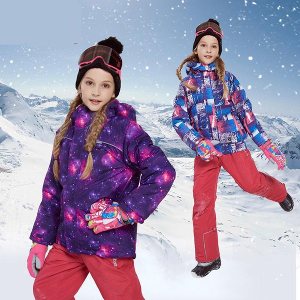 New kids girl winter ski snowboard sets jacket overalls pants size 8 10 12-35 Russia girl clothes sports active outdoor clohing