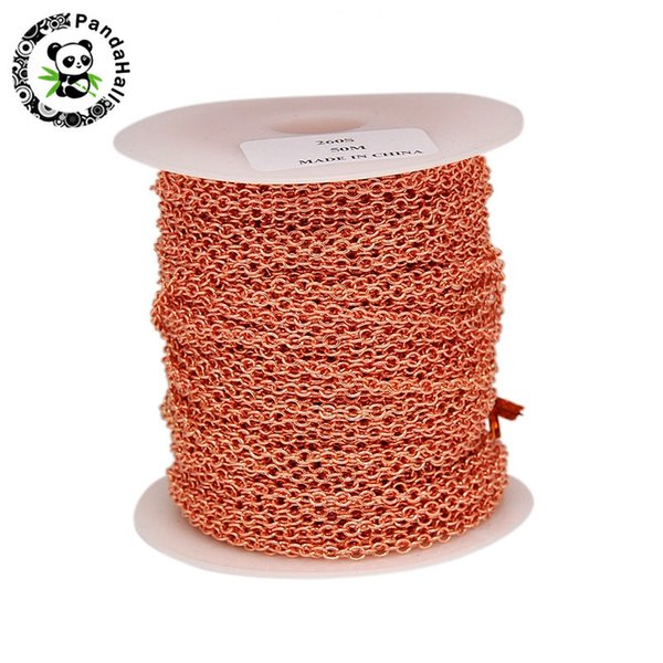 10m 50m Rose Gold Color Electroplate Brass Cross Chains Cable Chains with Spool for Jewelry Making