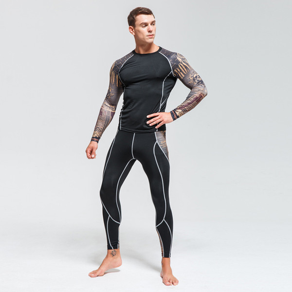 Men's Skin-Tight MMA Workout Fitness Suit Compression Shirts +Pants Rashguard Clothing Set CPD/P2L MMA long sleeve suit