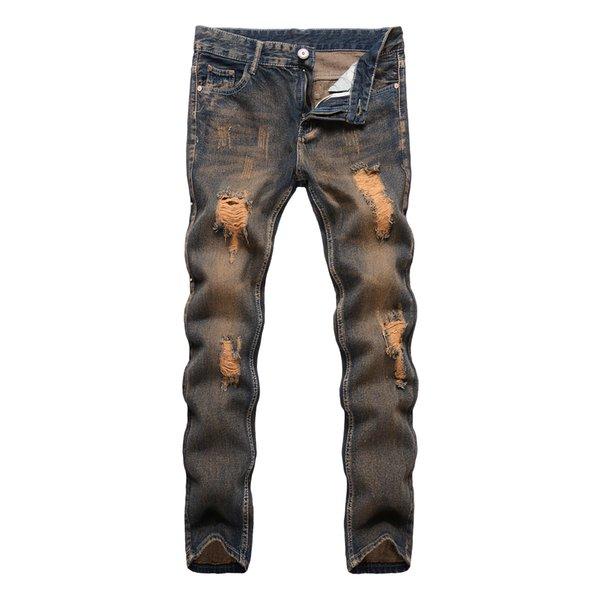 Tendência Homem Jeans Personalidade Do Joelho Buraco Todos Os Tipos De Calças High Street Pés pequenos Estilo Masculino Calças Compridas Maré S730