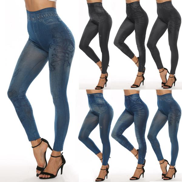 best selling Fashion Slim Women Leggings Faux Denim Jeans Leggings Sexy Long Pocket Printing Summer Leggings Casual Pencil Pants LE399