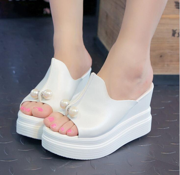 2019 2018 Sexy Women Wedges high Heels Platform Sandals Summer Slippers Thick Heel Slippers Slides Ladies Wedges Shoes Zapatos Mujer