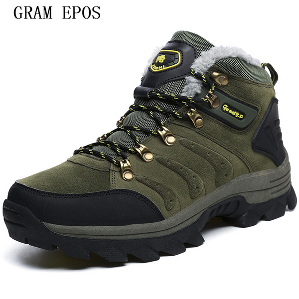 GRAM EPOS New Break Out New Men Boots for Men Winter Snow Boots Warm Fur&Plush Lace Up High Top Fashion Shoes Size 36-47