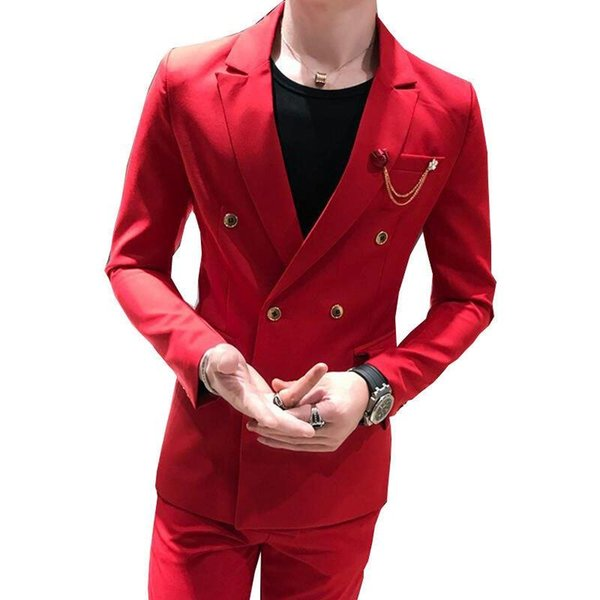 Brand New Side Slit Double Breasted Red Groom Tuxedos Peak Lapel Men Suits Wedding/Prom/Dinner Best Man Blazer (Jacket+Pants)