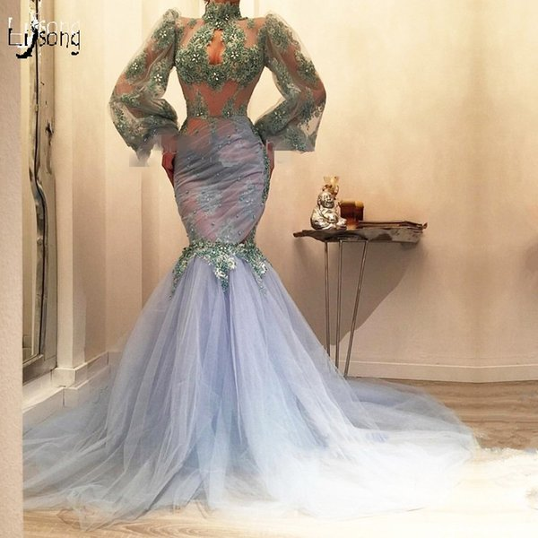 Special Design Lalic Lace Mermaid Prom Dresses 2019 With Puffy Full Sleeves High Collar Sexy Seuiqned Long Prom Gowns Abiye