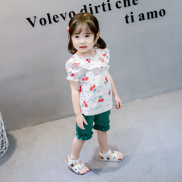 Kawaii Girls Summer Clothes Cotton Fruit Cherry Printed Sports Suit for Baby Girl Falbala T-Shirt + Cute Bloomers Children's Clothing