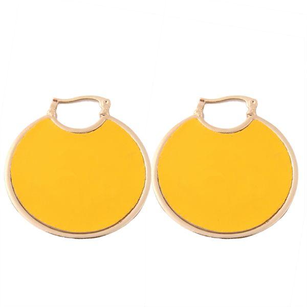 Brandjewelry Helle Multicolor Leder Zinklegierung Runde Große Anhänger Ohrringe Marke Ohrringe Drucken Ring Weibliche Orecchini Ohr Bijoux Frau