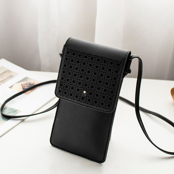 Cheap Women Laser Engraved One-Shoulder Mobile Phone Bag Cover Purse Ladies Hollow Out Leather Small Flap bolsa feminina @P