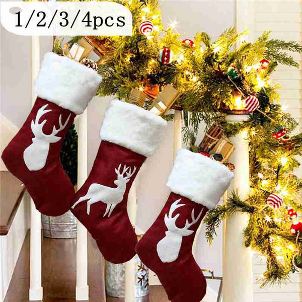 Regalos de Navidad calcetín de árbol de Navidad Decoración colgante medias calcetín Adornos Niños caramelo bolsa de regalo de la decoración de Navidad para el hogar 1/2 piezas