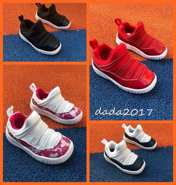 2019 yeni 11 S çocuk bir ayak büyük şeytan kırmızı beyaz toz basketbol ayakkabı tasarımcısı eğitmen çocuk tasarımcı ayakkabı boys grils EUR 22-35