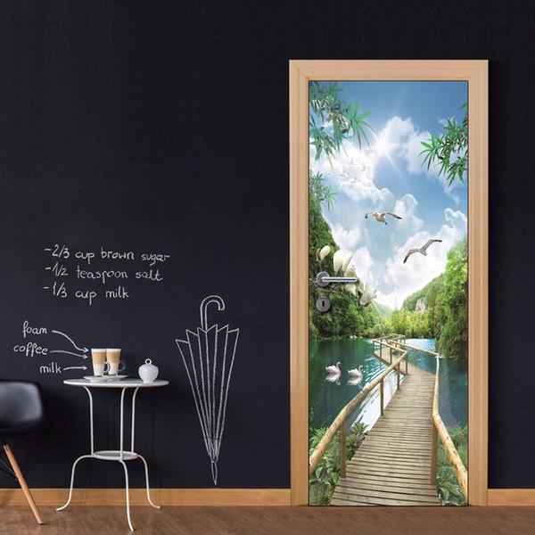 Wholesales DIY Door Sticker Bridge Under Blue Sky Door Decal for Bedroom Living Room wallpapers Decal home accessories