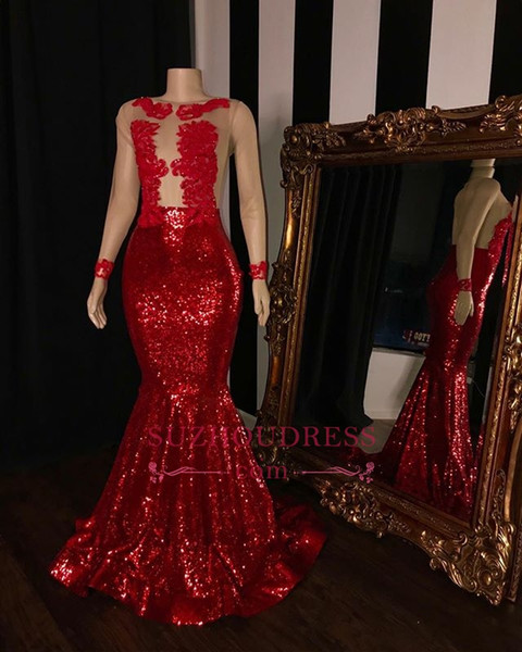 Cheap Illusion Bodice Red Sequins Prom Dress with Sleeves 2019 Long Mermaid Sheer Tulle Evening Gowns Plus Size
