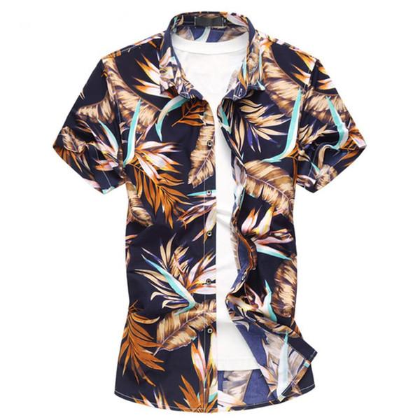 2018 New Arrival Camisa dos homens Verão Moda Imprimir Camisa de Manga Curta Dos Homens de Roupas Tendência Casual Slim Fit Flor Camisas Dos Homens M-6XL M3-161