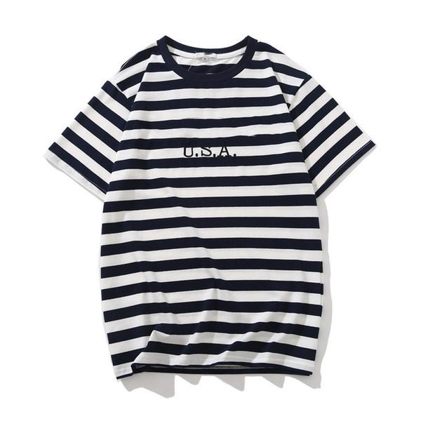 Kot ABD Erkek Çizgili T Shirt Yaz Moda Nakış Tasarımcısı Tees Kısa Kollu Elbise Tops
