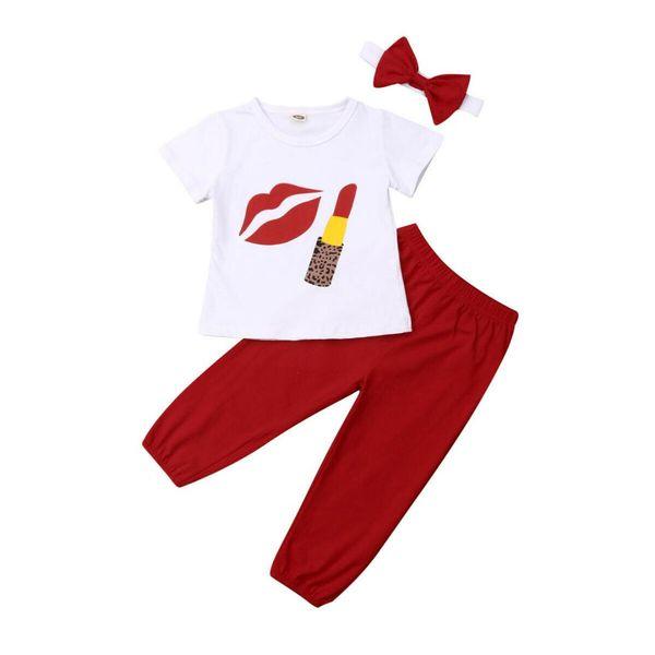 2019 El más nuevo estilo Toddler Kids Baby Toddler Girl Clothes 3 unids Imprimir camiseta + Pantalones largos + Diadema Roupa Infantil Trajes Set 2-6Years