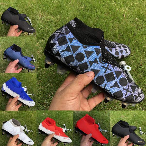 Futbol çizme Phantom VSN Vision Elite DF SG futbol ayakkabıları erkek siyah Lux Tamamen beyaz mavi Yüksek Bilek Futbol Profilli Ücretli