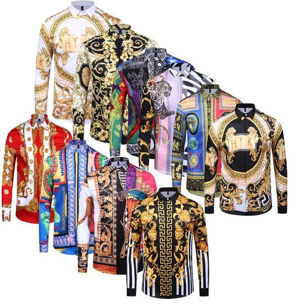 100% cotone caldo autunno Harajuku Medusa camicie hawaiane Moda Retro stampa floreale camicia di seta chemise Mens Maglie a manica lunga vestito progettista