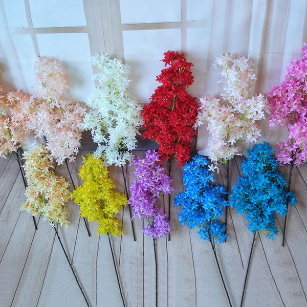 Yapay Sakura Çiçek Buket Gerçek Dokunmatik Lifelike Japon Kiraz Çiçeği DIY Ev Salon Düğün Dekor