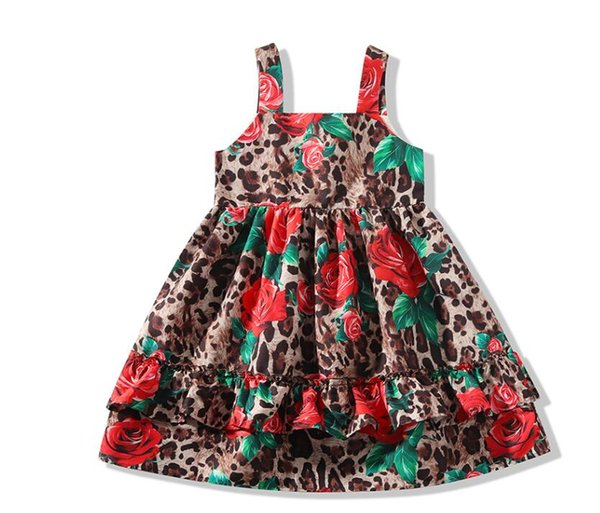 Baby Girls Clothes Sleeveless Leopard Rose Princess Designer Brand Dress Sexy Summer Kids Dresses For Girls Party Children Dress