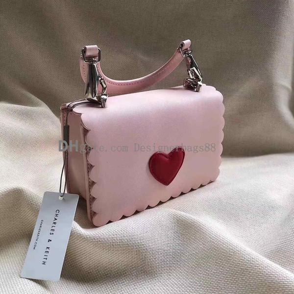 hochwertige Frauen Handtaschen drucken Designer Handtaschen Mini Geldbörse Umhängetaschen Baby Echtleder Herz Messenger Kette Taschen Clutch Bags Pin