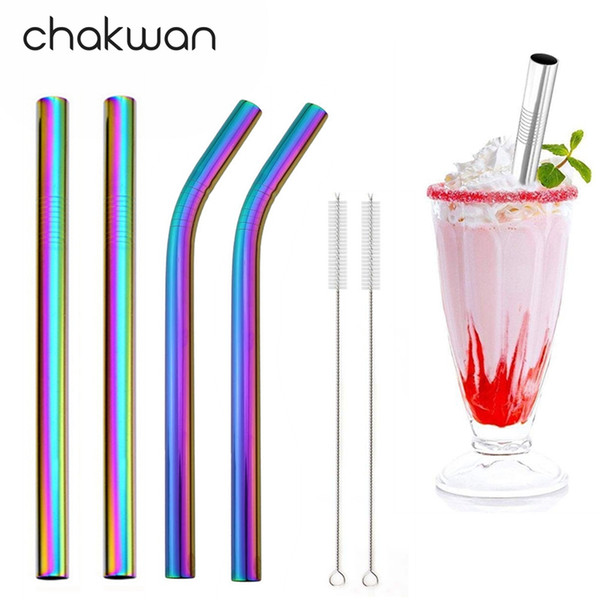 6Pcs 12mm Big Extra Wide Straw Reusable Portable Drinking Straws Colorful 304 Stainless Steel Metal Straws with 2 Brush Bag