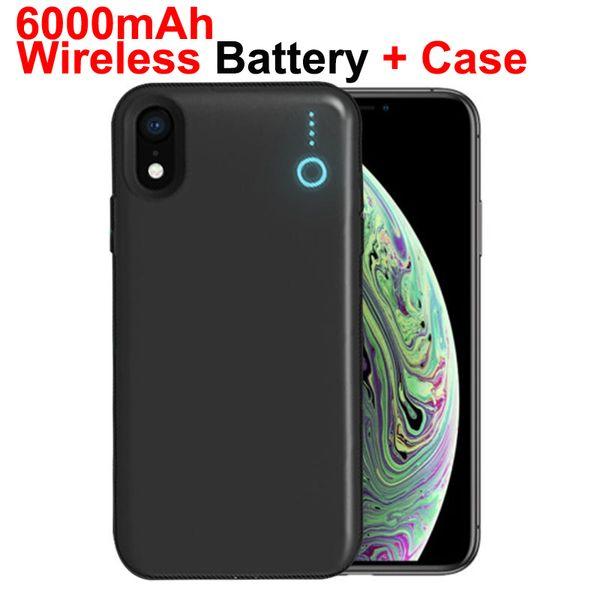 Qi poder sem fio bateria caso bateria portátil carregador de energia caso de carregamento protetora banco de potência de backup capa para iphone xr xs max 6000 mah