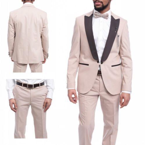 Abito da uomo beige slim fit 2 pezzi (giacca + mutanda + cravatta a farfalla) smoking sposo sposo abiti da sposa su misura blazer Terno Masculino