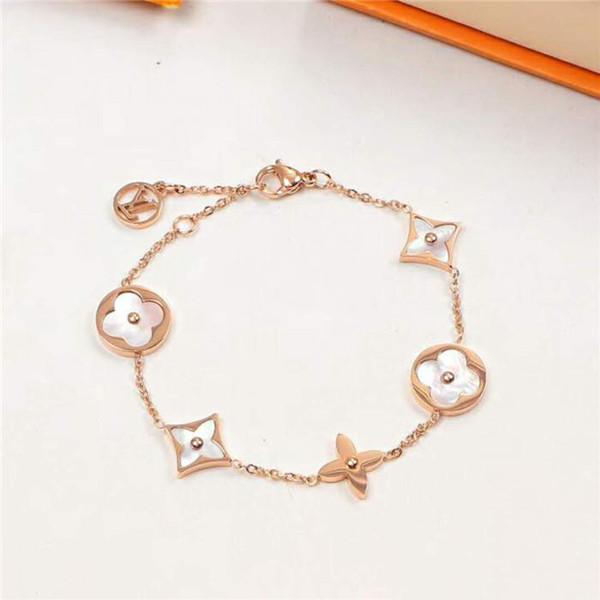 Hotsales женские розовое золото белый цветок браслет четырехлистный меж цветок сверла браслет для женщин мода подвески ювелирные изделия с подарком