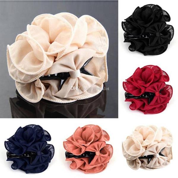 1PC Women Chiffon Big Rose Flower Bow Hair Claw Jaw Clip Barrette Accessories Bridal Decoration Bohemia Festival hair Accessories