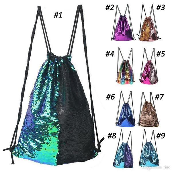 Mermaid Sequin Backpack Drawstring Portable Glittering Shoulder Bag School bag shopping bag birthday Party Favors nice gifts